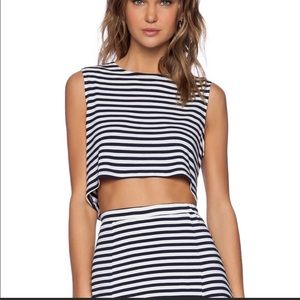 LOVERS & FRIENDS | ludi navy stripe crop top S
